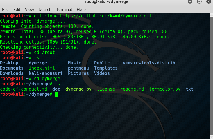 Create a super password list with DyMerge using Kali Linux