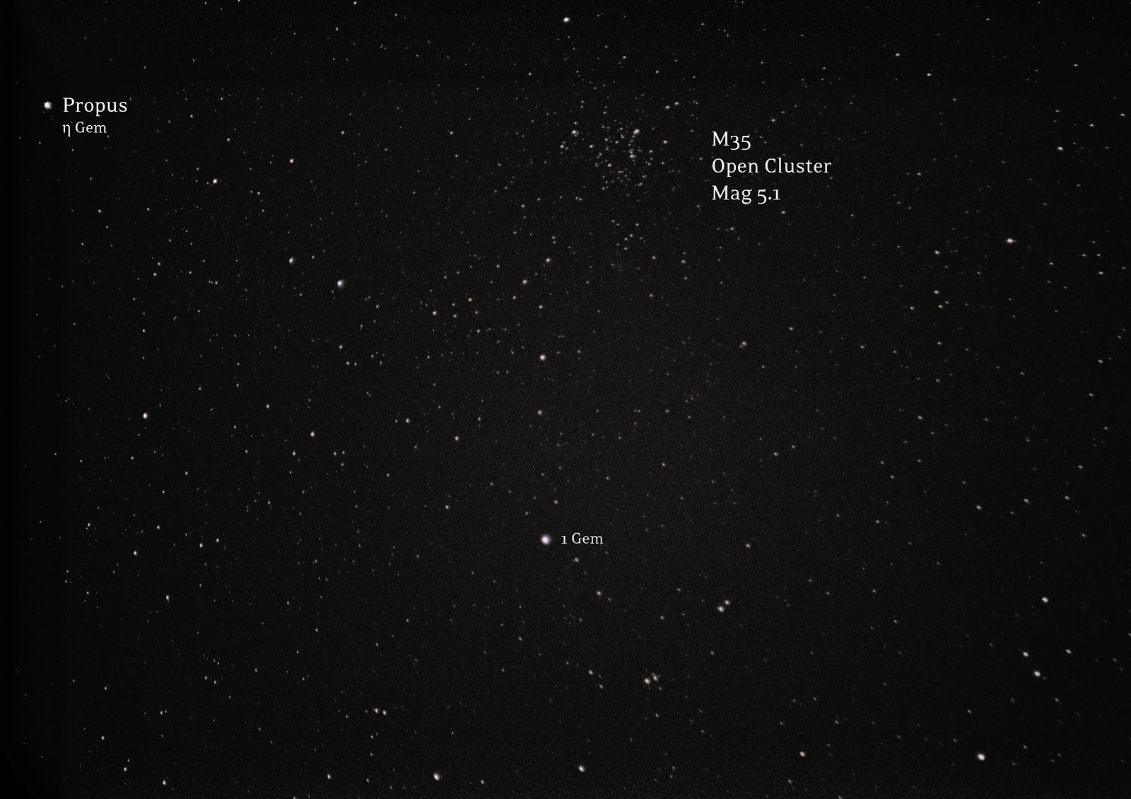 M35, open cluster in Gemini