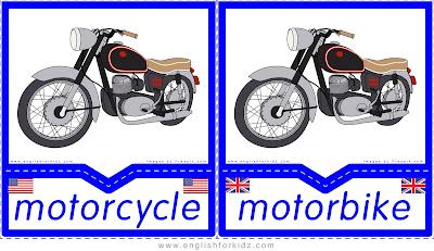 motorcycle and motorbike printable transportation flashcards American and British English