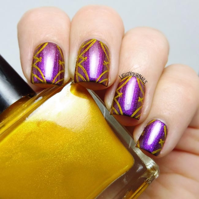 Purple curtains nail stamping nail art