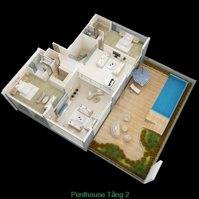Thiết kế tầng 2 căn hộ Penthouse Mỹ Đình Pearl