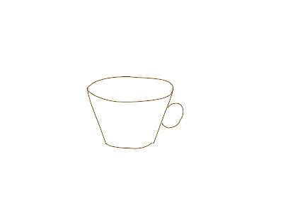 アイコン 「紅茶」 (作: 塚原 美樹) ~ カップの持ち手を一本線で描く