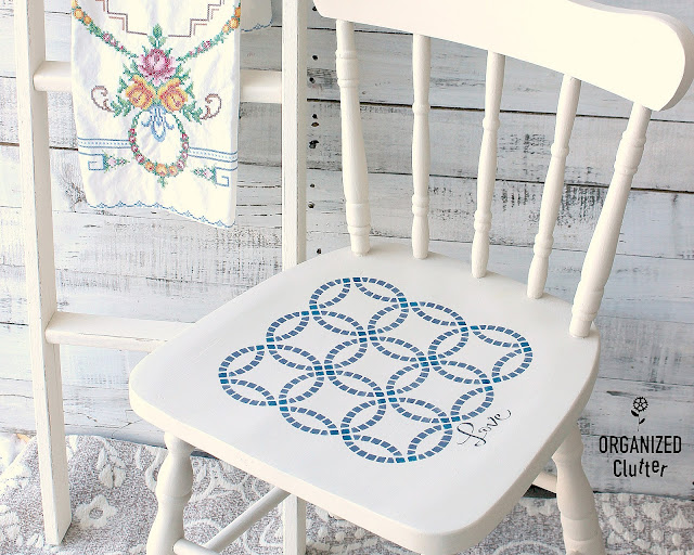 Wedding Ring Quilt Pattern Stenciled Chair