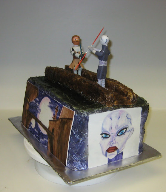 Star Wars: The Clone Wars Themed Cake - Obi-Wan Kenobi and Asajj Ventress Duel - Angled View 1