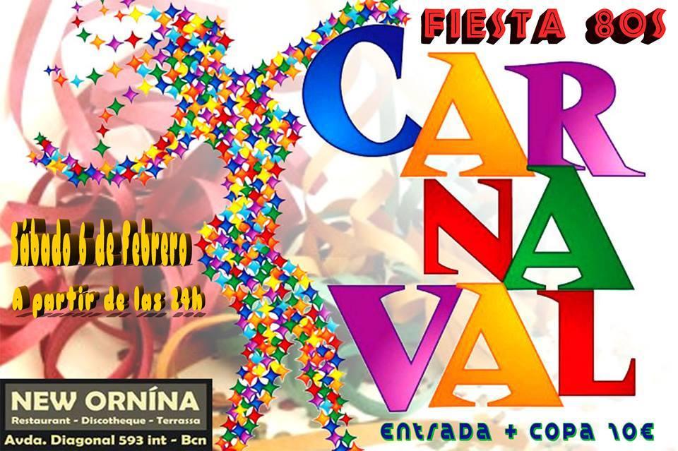 Flyer Fiesta Carnaval 80s