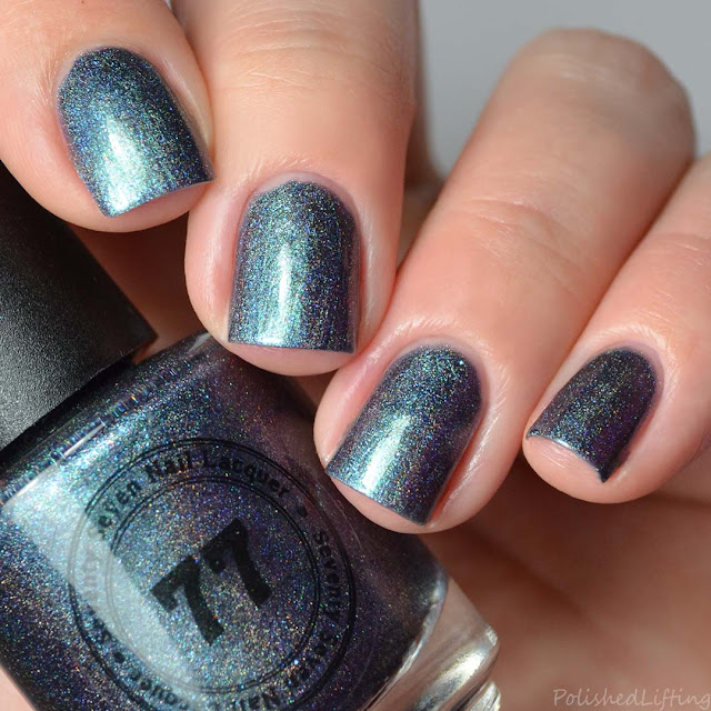 darkened teal holographic nail polish