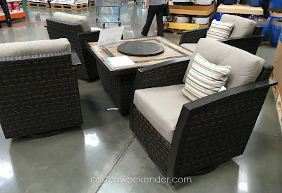 Furnish your patio or outdoor deck with the Agio International 5 Piece Woven Fireplace Chat Set