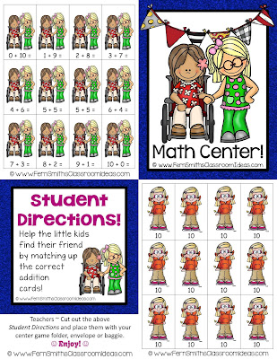 Fern Smith's Classroom Ideas ~ Fern's Freebie Friday's FREE Earth Day Addition Center - Make Ten Concept
