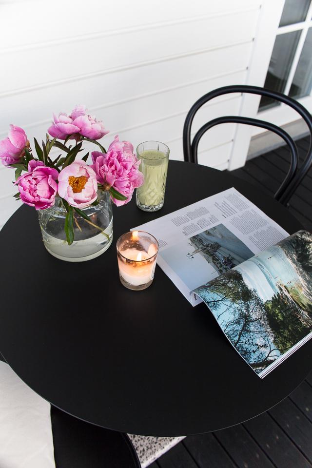 TON-tuoli, pionit, terassi, Hayn terrazzo-pöytä