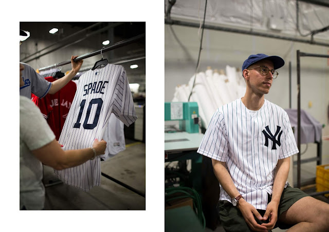 Making my very own custom-made New York Yankies cool base jersey at Majestic Athletic factory in Easton, PA. US made baseball jeresys
