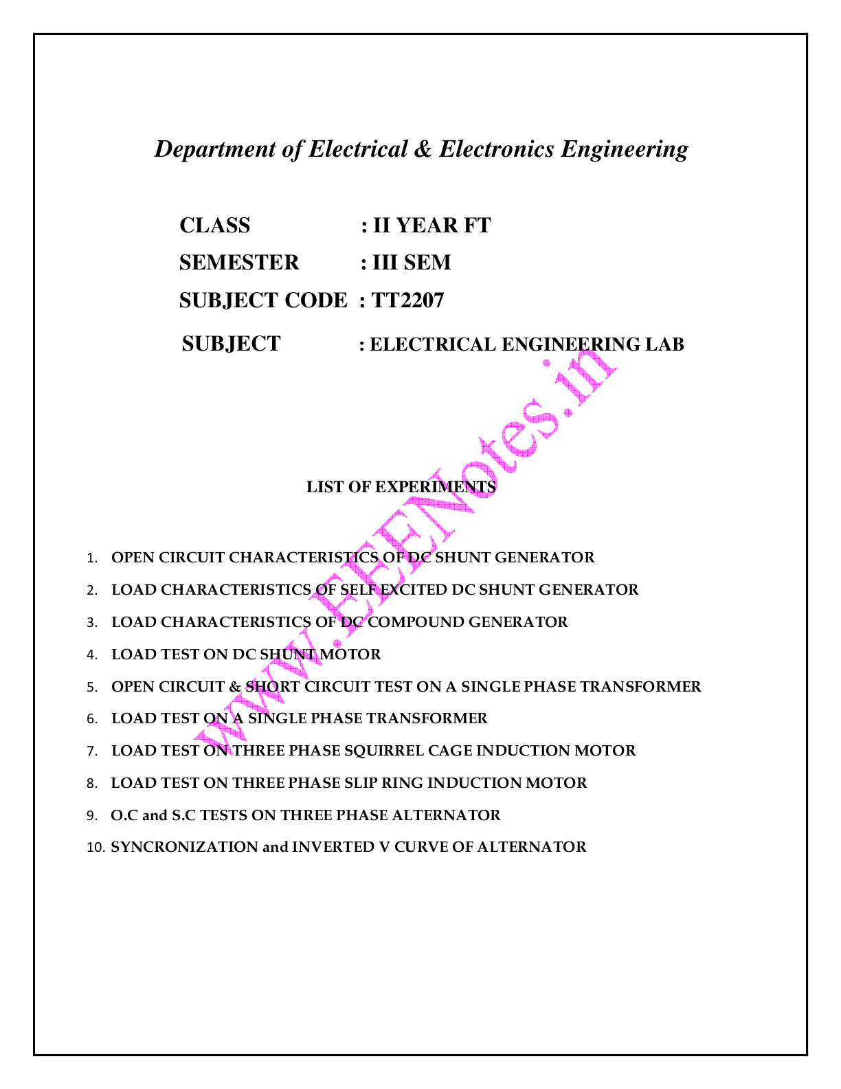 Electrical Engineering Lab Manual - FT 3rd Semester