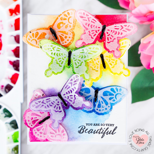 Beautiful Butterflies Friendship Card ft. Stephanie Low's Wandering Butterflies Etched Dies by ilovedoingallthingscrafty