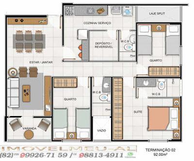 Três quartos com uma suíte e dependencia completa é uma ótima configuração para um imóvel de noventa e dois metros quadrados de área privativa.