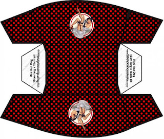 Pin Up in Black with Red Polka Dots  Free Printable Hot Dogs Tray.