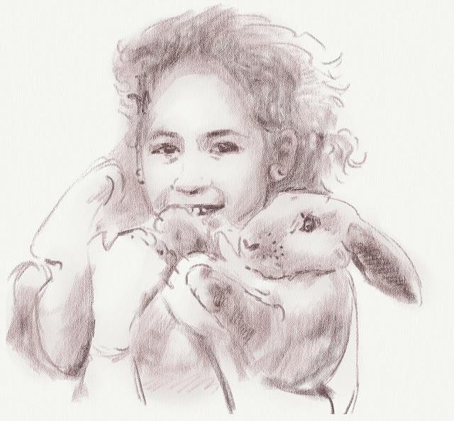 Зарисовка девочки с кроликом