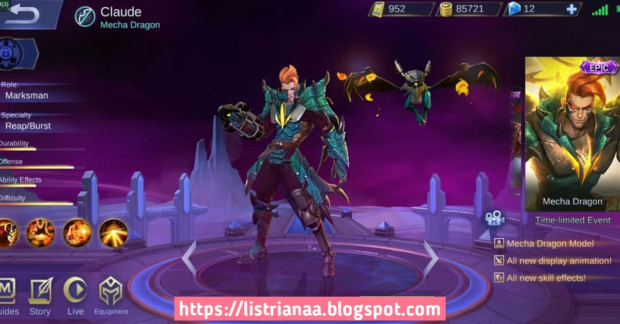 Keren Banget Skin Epic Claude Mecha Dragon Jadi Skin Epic Limited Mobile Legends 1