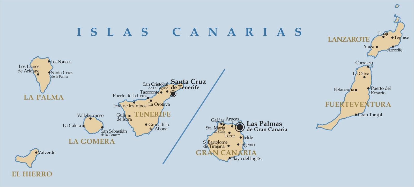 Mapa Politico De Canarias.Mapa Politico De Las Islas Canarias