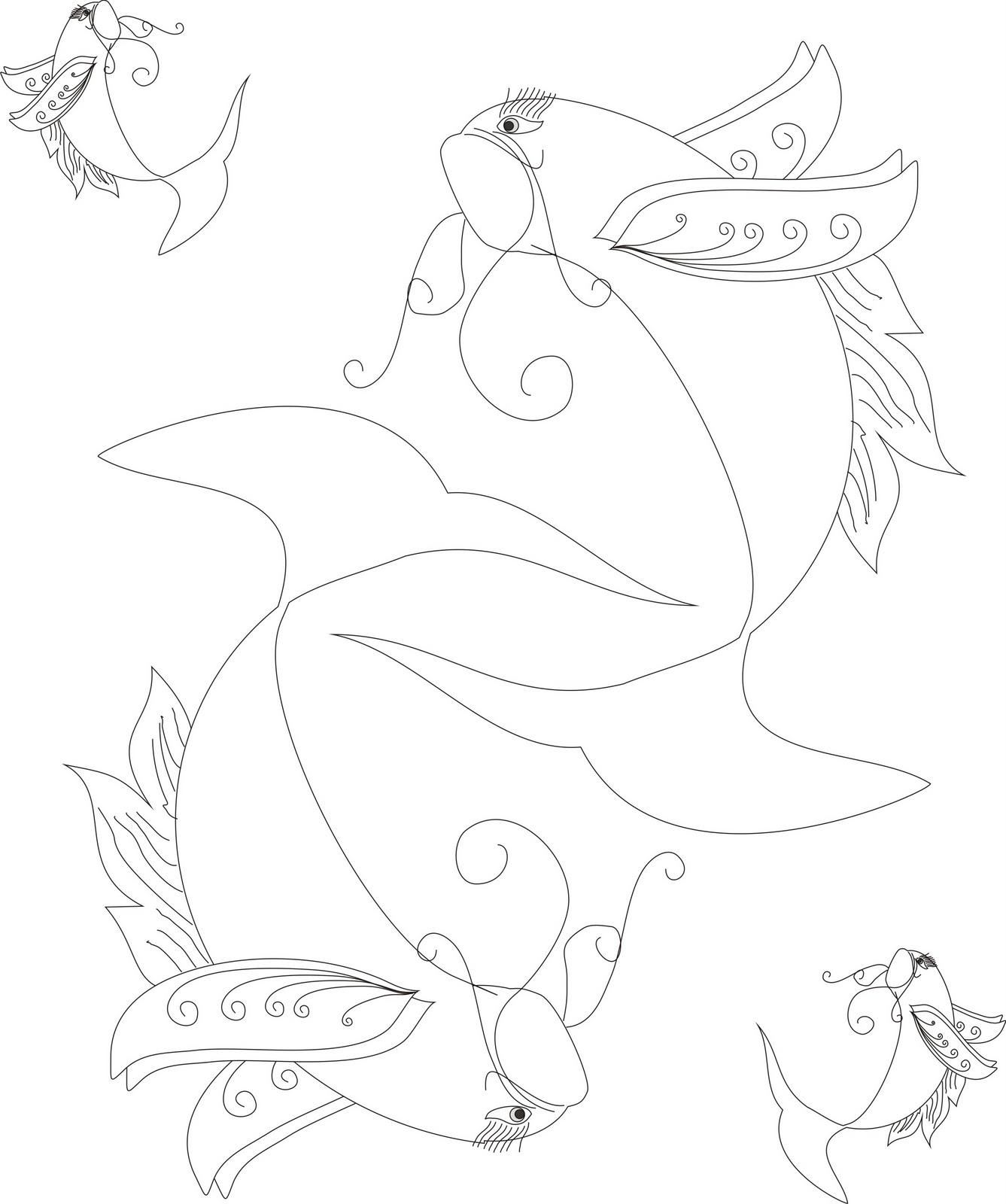 Gambar Batik Contoh Desain Gambar Ikan Sketsa Hias Di