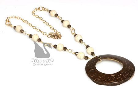 Coconut Shell Riverstone Smoky Quartz Gemstone Necklace (N080)