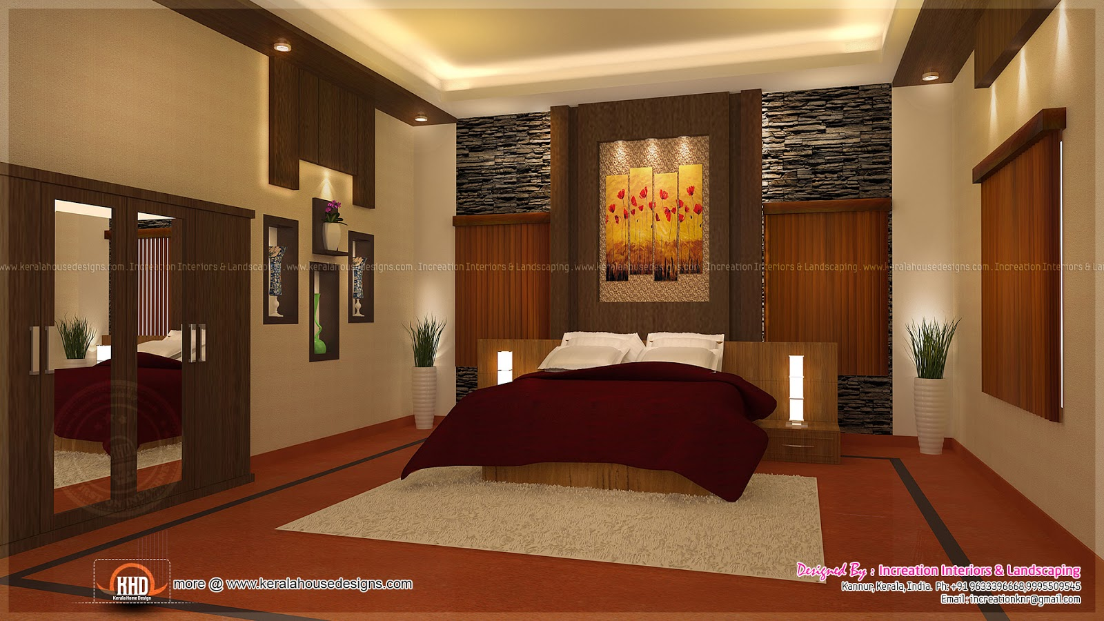 House interior ideas in 3d rendering kerala home design for Home plans with interior photos
