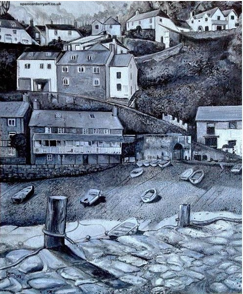 Original hand painted acrylic painting of Clovelly Village & Harbour, Devon, England. Artwork Created by Spencer J. Derry in 2016. Media : Acrylic. Pure Cotton Stretched Canvas on Board. Note NOT framed.