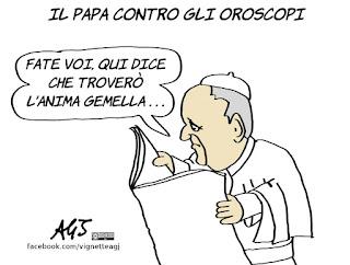 papa francesco, astrologi, oroscopo, astrologia, superstizioni, umorismo, vignetta, satira