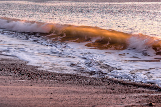 Swanage beach wave is lit up by the sunrise light as it rolls onto the beach
