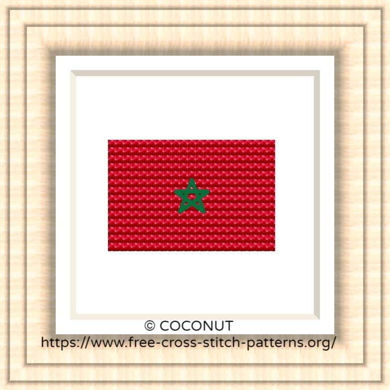 NATIONAL FLAG OF MOROCCO CROSS STITCH CHART