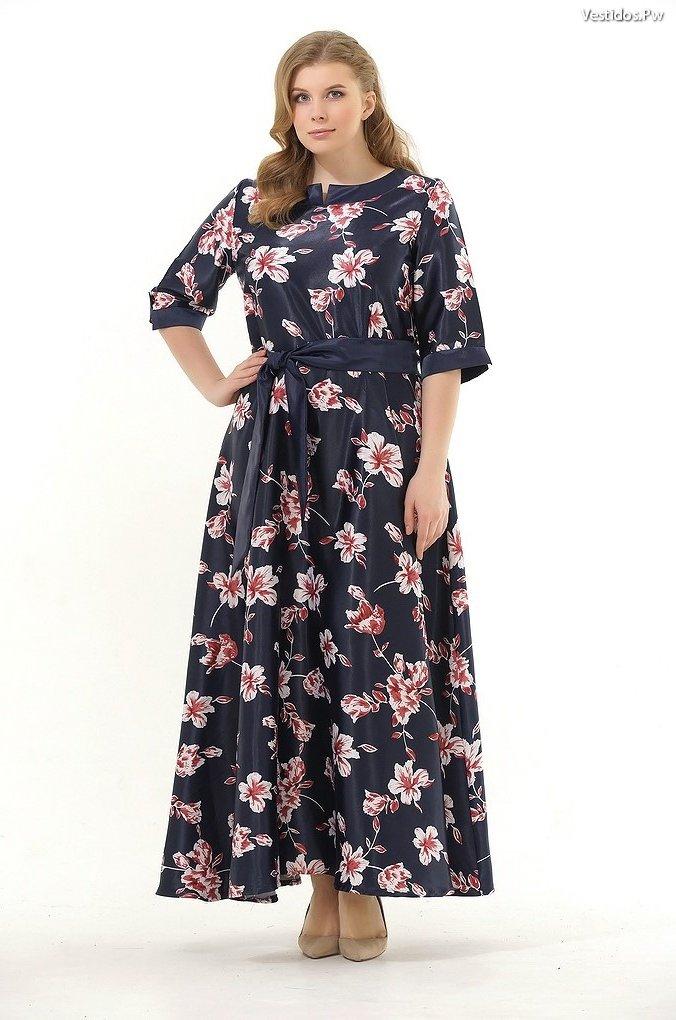 Modelos de vestidos largos estampados para gorditas