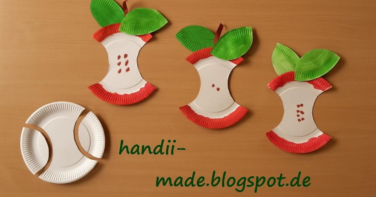 Handii made apfel aus papptellern for Apfel basteln herbst