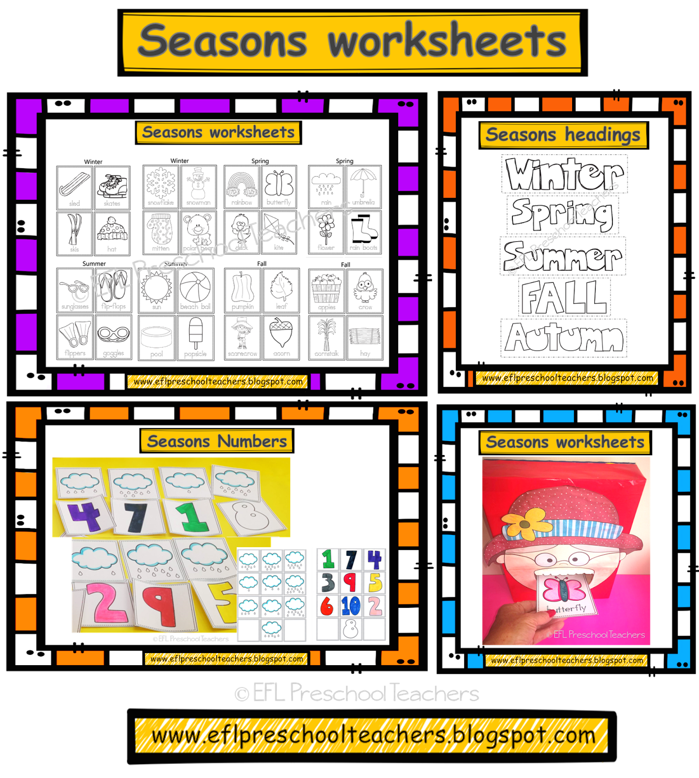 Esl Efl Preschool Teachers Seasons Unit Worksheets For