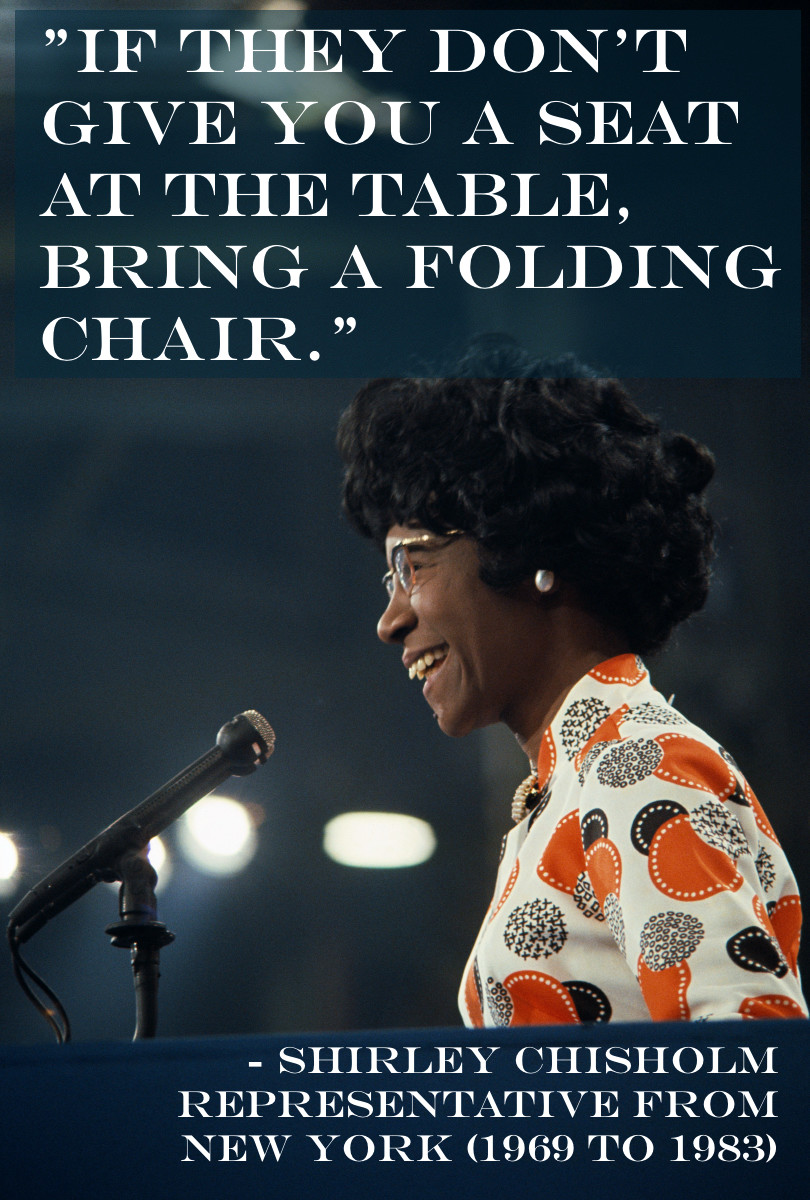 - Shirley Chisholm, Representative from New York for seven terms (1969 to 1983)