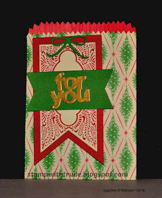 Christmas, Mini Treat Bag, Stampin' Up!, Beautiful Banners, Stamp with Trude, Tuesday Tutorial