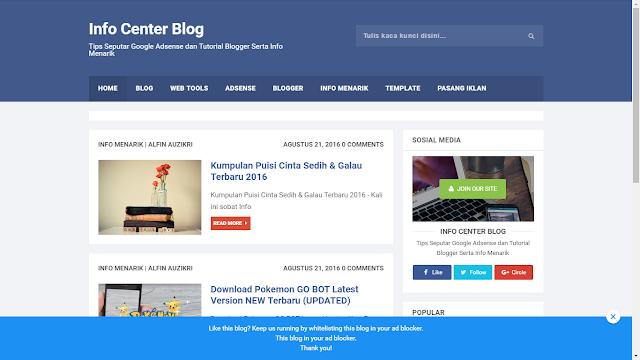 Notifikasi (Pesan) Anti-Adblock Untuk Blog atau Website