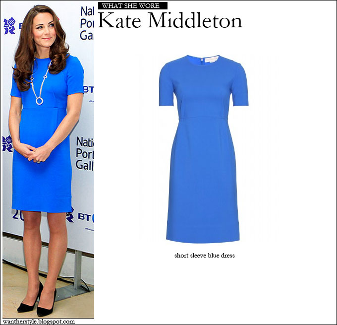 d85c10fcbd5 WHAT SHE WORE  Kate Middleton in blue short sleeve Stella McCartney Dress ~  I want her style - What celebrities wore and where to buy it. Celebrity  Style