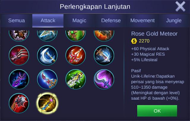 item rose gold meteor mobile legends bang bangs