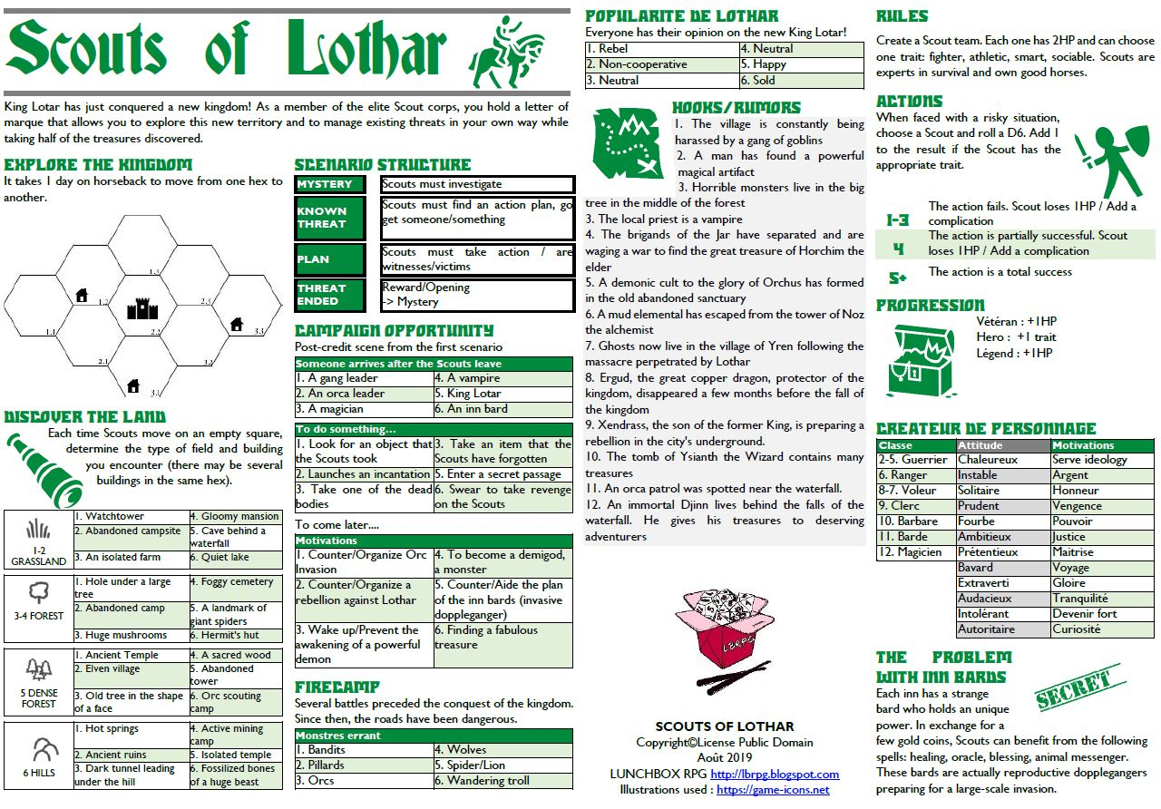 LunchBox RPG - solo rpg ultra light: Scouts of Lothar : A