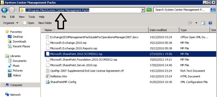 sharepoint 2010 management pack scom 2012