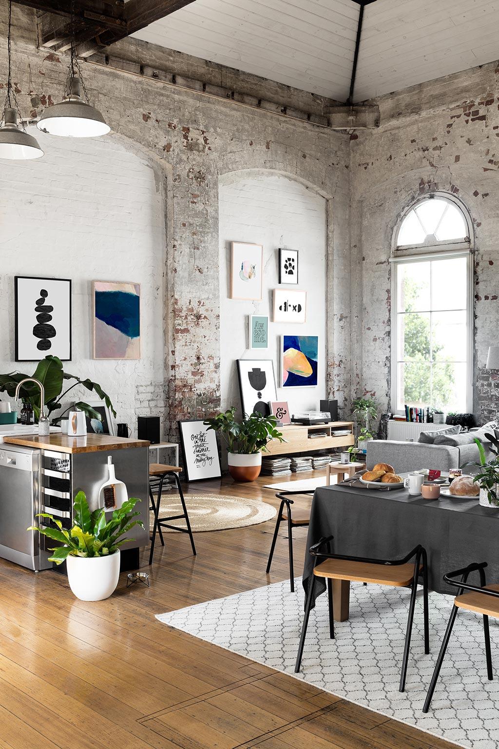loft interior, mid century modern, interior design, boho style