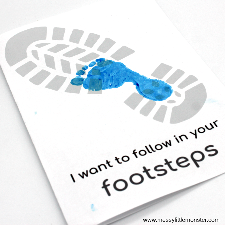Printable Father's day cards - footsteps footprint