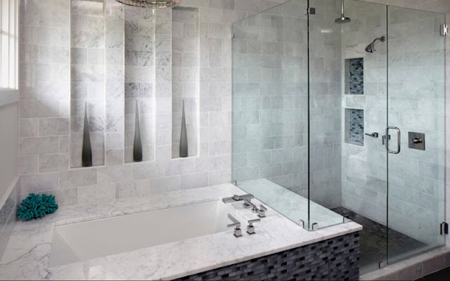 Tile makes beautiful walls in this shower and bathroom