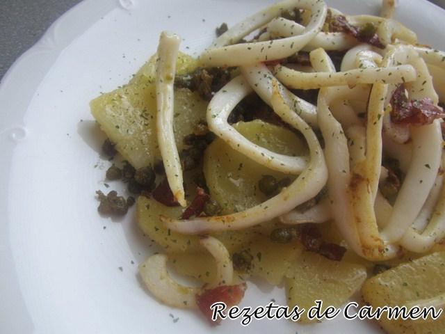 Calamares con patatas y jamón
