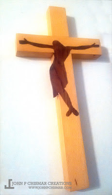 hardwood crucifix made from beech and rose wood