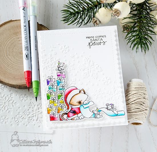 Santa Paws Card by Tatiana Trafimovich | Santa Paws Newton Stamp Set and Snowfall Stencil by Newton's Nook Designs
