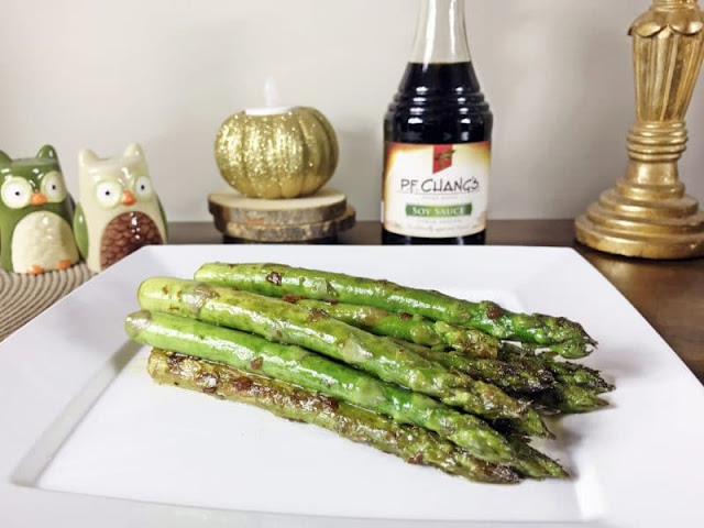 Pan-seared asparagus with soy sauce and garlic from Crayons and Cravings; used with permission