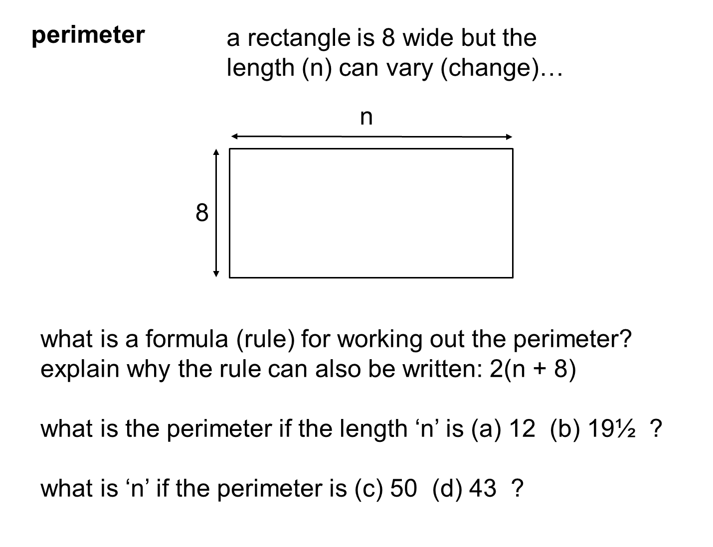 Median Don Steward Mathematics Teaching Rectangle Perimeter