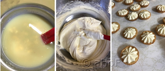 White chocolate mixture - folding into whipped cream - piped into shells