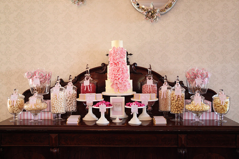 Elegant Pink and Grey Wedding Candy Table | Sweet Style