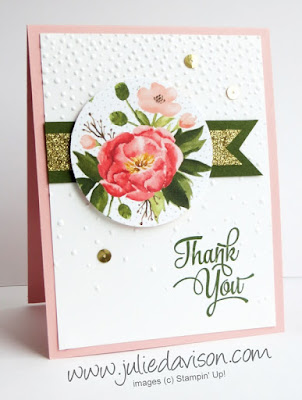 Stampin' Up! Birthday Bouquet Designer Paper Thank You Card with Roses for Spring #stampinup 2016 Occasions Catalog www.juliedavison.com