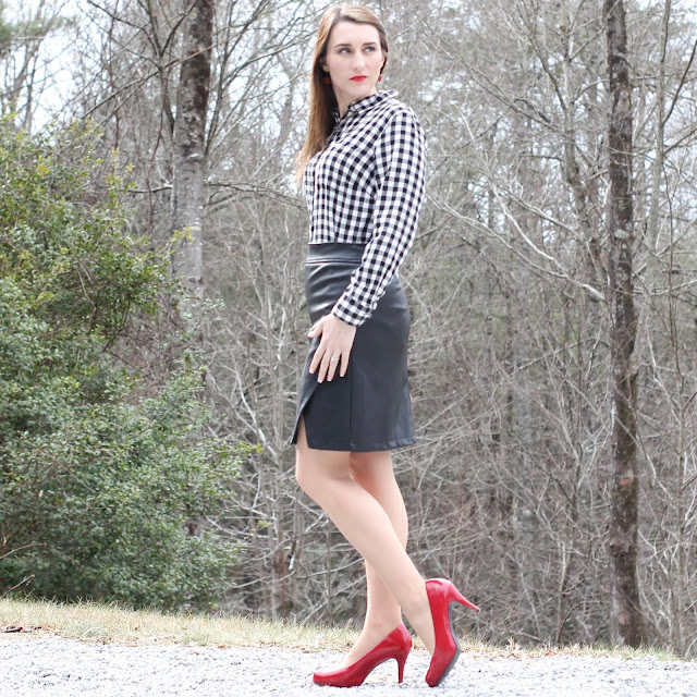 Faux Leather Skirt // Gingham Blouse // Buffalo Check Top // Red Heels // Red Lipstick
